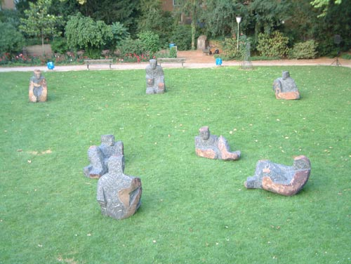 Sculptures on meadow in the city garden